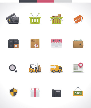 transport of goods: Vector e-commerce icon set Illustration