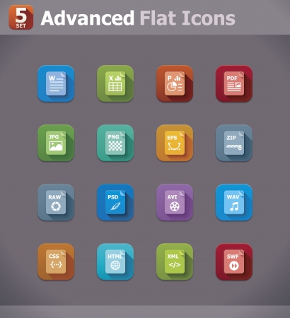psd: Vector flat file type icons
