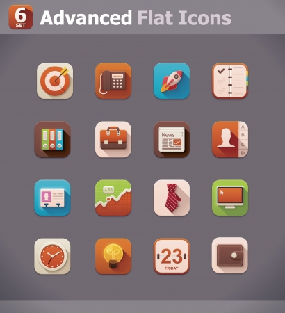 Vector flat business icons Vector