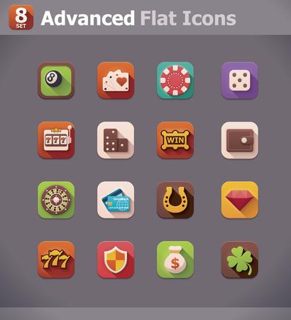 fichas casino: Vector planas iconos de juegos de azar Vectores