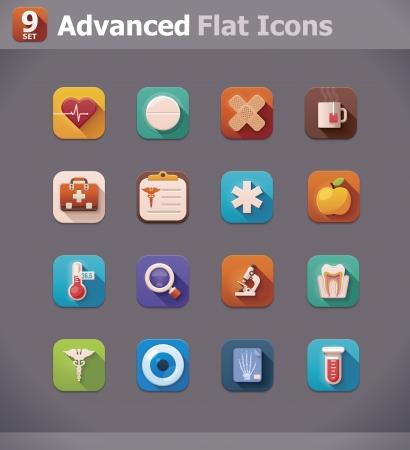 Vector flat medicine icons Vector