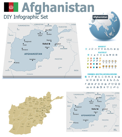 maps globes and flags: Afghanistan  maps with markers