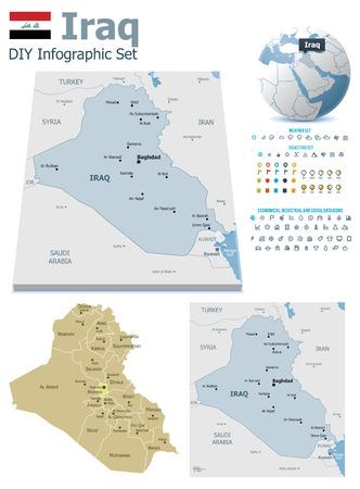 Mapas de Iraq con marcadores