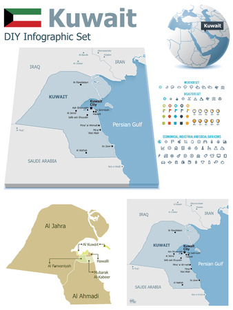Kuwait maps with markers Vector