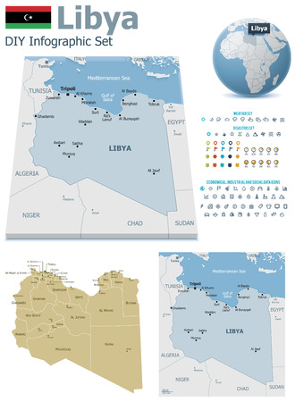 political division: Libya maps with markers Illustration