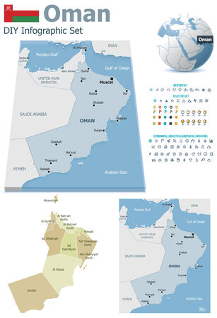 Oman maps with markers Vector