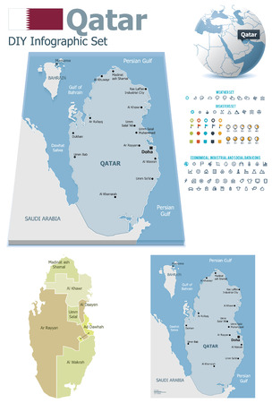 maps globes and flags: Qatar maps with markers Illustration