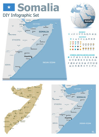 Somalia maps with markers Vector