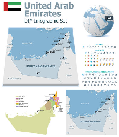 maps globes and flags: United Arab Emirates maps with markers
