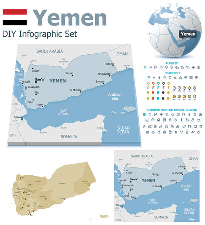 political division: Yemen maps with markers Illustration