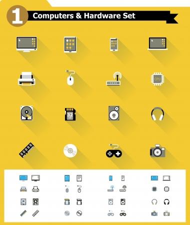 icon: Piatto del computer hardware icona set Vettoriali