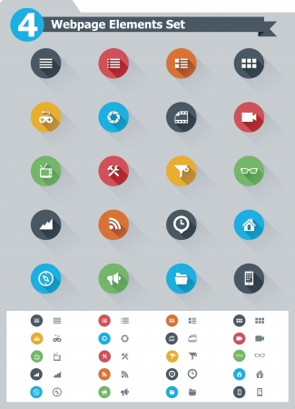 Flat webpage elements icon set Stock Vector - 23650262