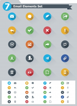 Flat email icon set Stock Vector - 23650272