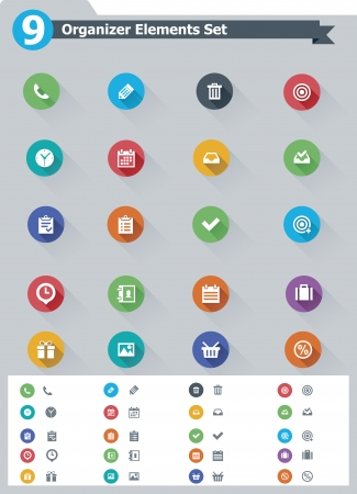 contact icon: Flat organizer elements icon set