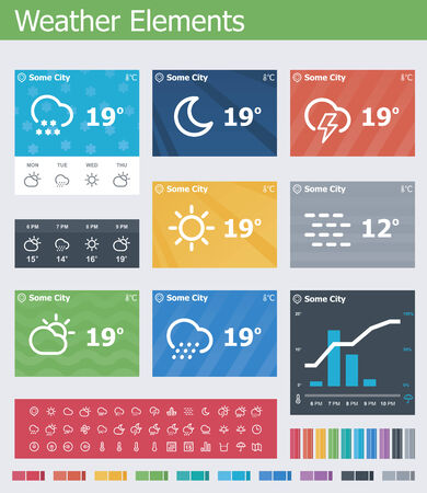 day forecast: Flat weather app UI elements Illustration