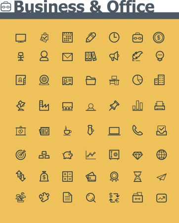 glyph: Business and office  icon set