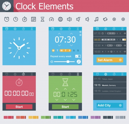 Clock elements Stock Vector - 24174509