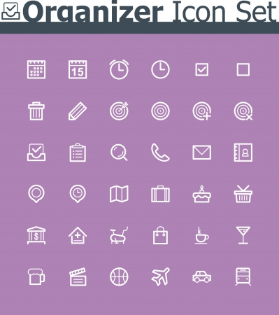 Organizer icon set Stock Vector - 24174542