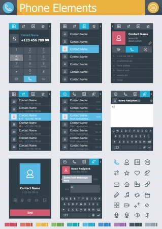 glyph: Phone elements Illustration