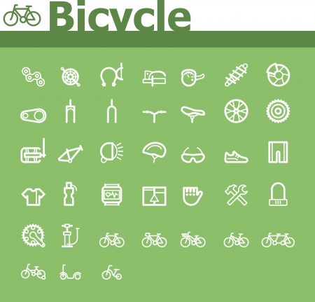 shock absorber: Bicycle icon set