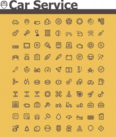 cars parking: Car service icon set