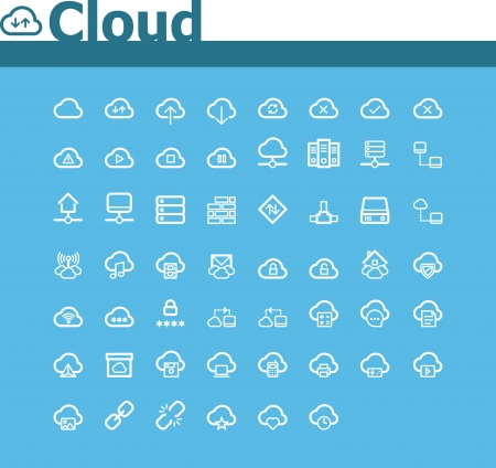 hub: Cloud computing jeu d'ic�nes Illustration