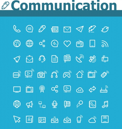 telephone line: Communication icon set