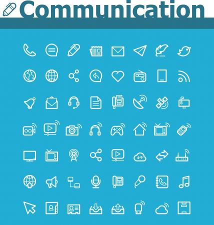 globális kommunikációs: Kommunikációs icon set Illusztráció