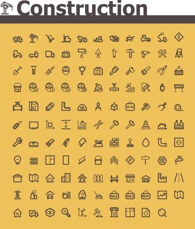 komercyjnych: Budownictwo zestaw ikon Ilustracja