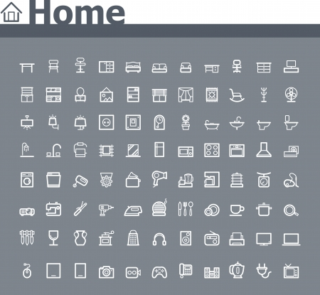 home related: Home related icon set Illustration