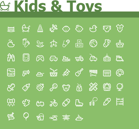 Kids and toys icon set Illustration