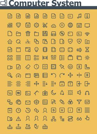 Computer system icon set