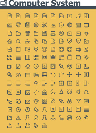 Computer system icon set