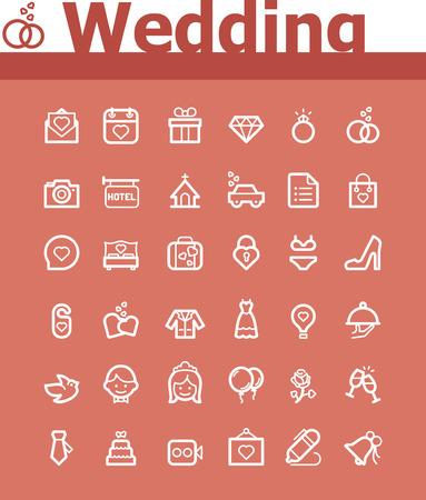 marriage ceremony: Wedding icon set