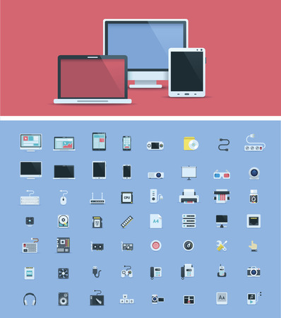smartphones: Computer hardware icon set