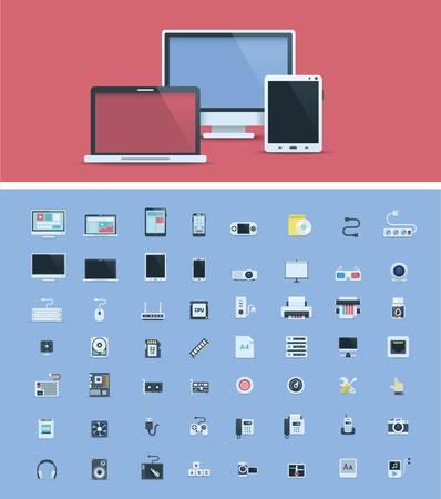 Material informático conjunto de iconos Ilustración de vector