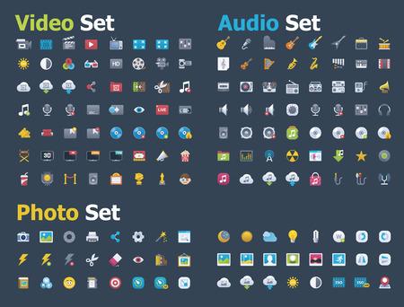 icon set: Foto, video en audio icon set