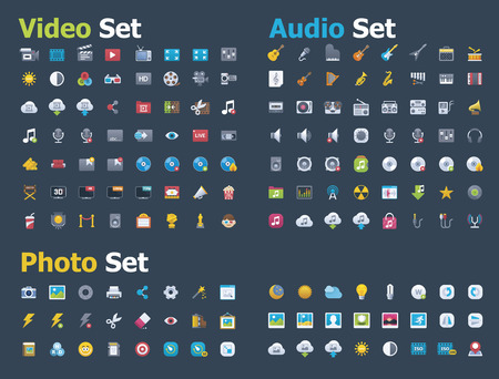 live entertainment: Photo, video and audio icon set