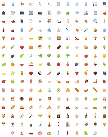 vegetable: Big food, drinks and cooking icon set Illustration