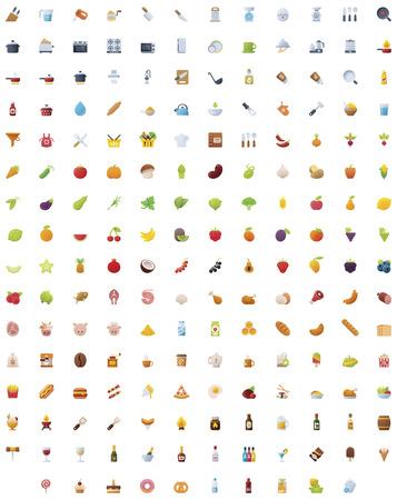 alimentos y bebidas: Gran comida, las bebidas y la cocina conjunto de iconos