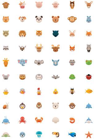 Big animals icon set Illustration