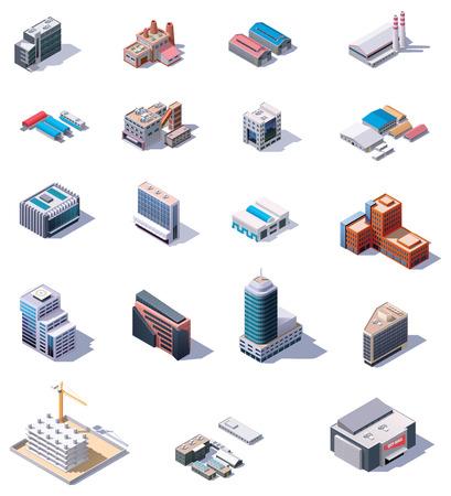 edificio industrial: Edificios de fábricas y oficinas isométricos establecen