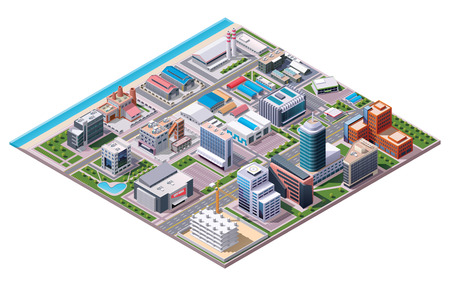building structures: Isometric industrial and business city district map