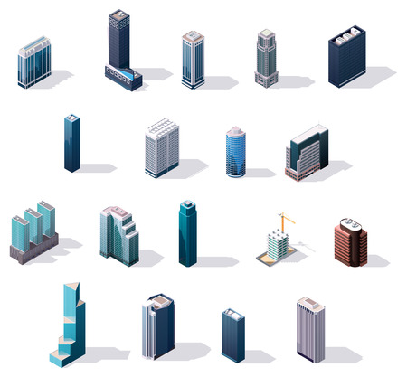 isometric city center buildings set