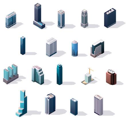 ville isométrique bâtiments du centre fixés Illustration