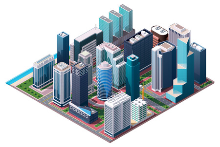 isometric city center map Vector