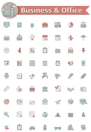 icone office: Entreprises et les bureaux ic�ne ensemble Illustration