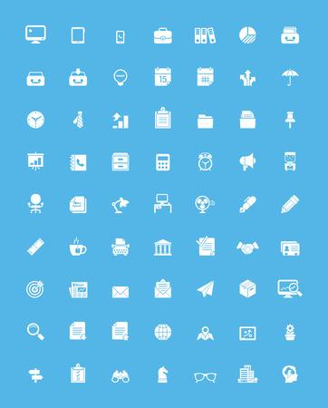equipos trabajo: Sencillo de negocios y de oficinas icono conjunto Vectores