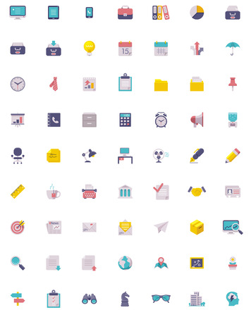 office cabinet: Flat business and office  icon set