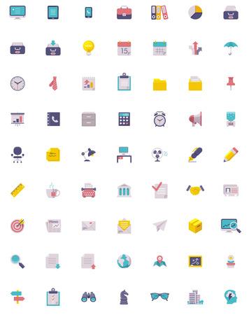 globális üzleti: Sima üzleti és irodai icon set Illusztráció